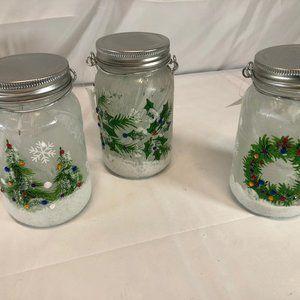 Set of (3) Illuminated Embellished Mason Jars